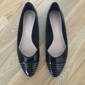 Zara Shoes - Zara Trafaluc Black Patent Gold Stud Flats 39 9